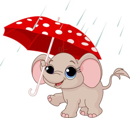 sotto la pioggia: Illustrazione di elefante simpatico e divertente sotto l'ombrello Vettoriali