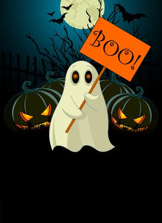 Halloween  invitation  of Very cute ghost with �Boo� sign Çizim