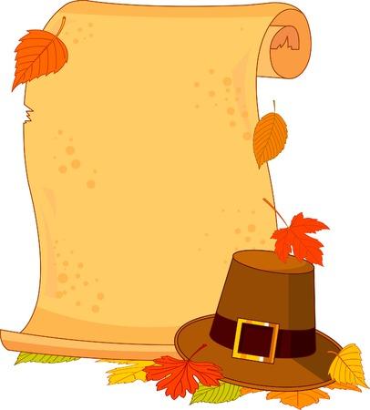 p�lerin: Thanksgiving d�filer avec p�lerin chapeau et les feuilles d'automne Illustration