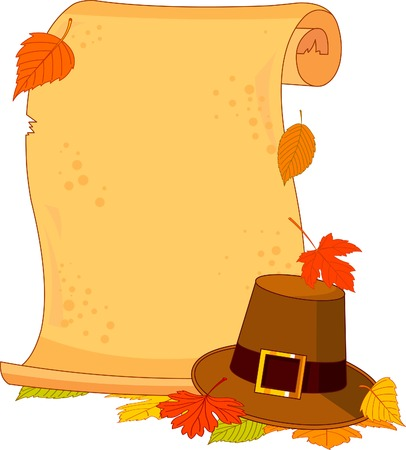 nov: Thanksgiving scroll with pilgrim hat and autumn leaves
