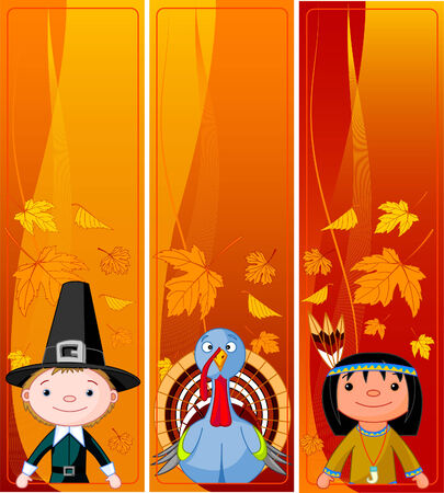 Three Cute Thanksgiving and Autumn vertical Banners Vector