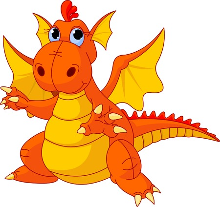 the red dragon: Illustration of Cute Cartoon baby dragon pointing