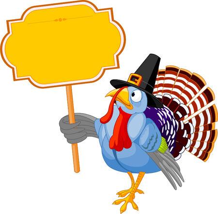 Abbildung der einen Thanksgiving-Truthahn mit einem leeren Brett-Schild Standard-Bild - 8143648