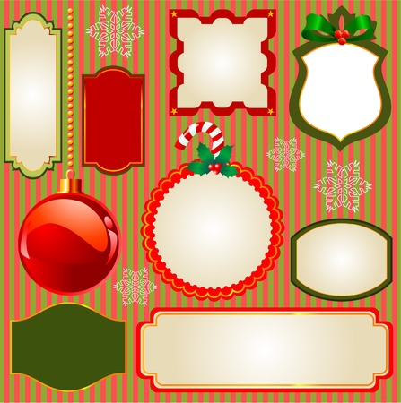 Set of Christmas frames and ornaments for your text. Perfect as invitation or announcement  Stock Vector - 8143642
