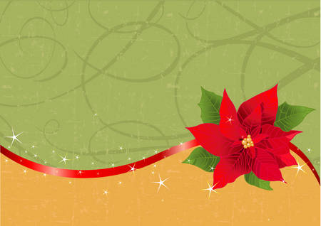 Christmas background with red ribbon and poinsettia. Place for copytext. Vector