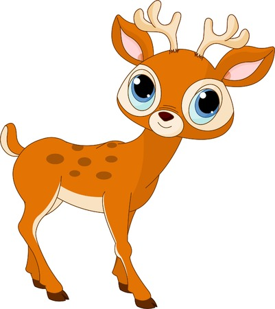Illustration of beautiful cartoon deer  Çizim