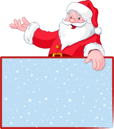 bearded man: Christmas Santa Claus over blank greeting (place) card with lift hand