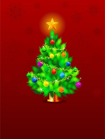 Red  Christmas background with Christmas tree and snowflakes Stock Vector - 8152885