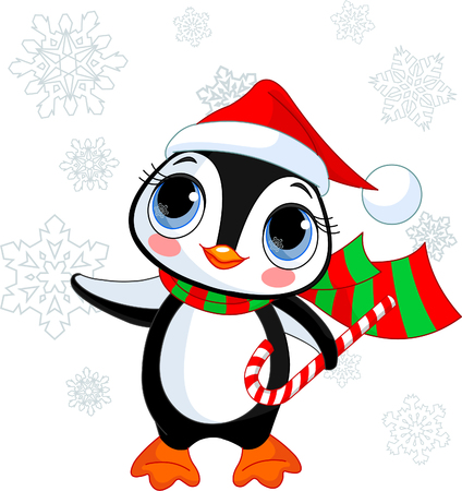christmas postcard: Cute Christmas penguin with Santa�s hat and scarf