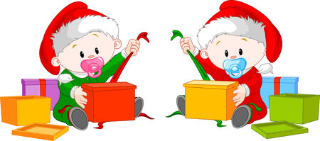 christmas cute: Cute  twins with Santa�s  hat open Christmas gifts Illustration