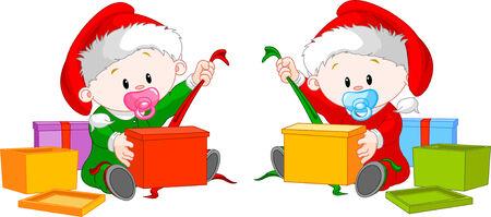 gemelas: Lindos gemelos con sombrero de Santa?s abrir regalos de Navidad