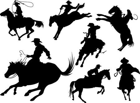 oeste: Vaqueros sobre siluetas de caballos sobre un fondo blanco.