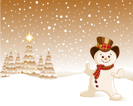 winter scene: Christmas, Snowman in winter scene amidst falling snow flakes Illustration