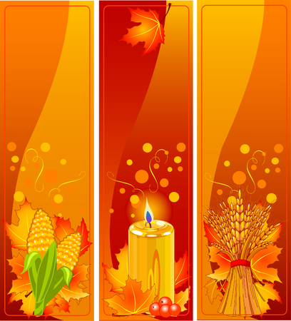 Three Cute Thanksgiving and Harvest vertical Banners 矢量图像