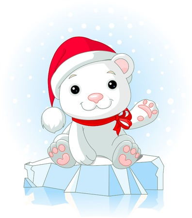 Christmas Polar Bear cub waiving hello