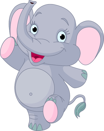 Happy Very Cute baby elephant dancing Banco de Imagens - 8152915