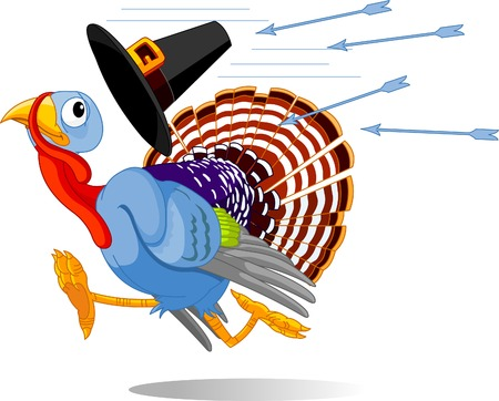 Cartoon turkey escapes from the arrows and loses his hat