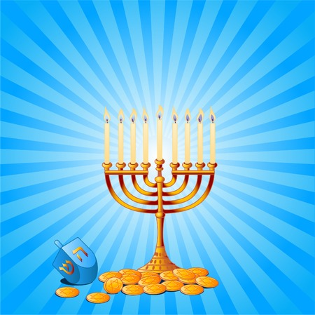 Jewish festival of HanukkahChanukah Background, including Menorah, dreidlssevivot and Hanukkah Gelt