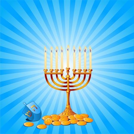 gold star: Jewish festival of HanukkahChanukah Background, including Menorah, dreidlssevivot and Hanukkah Gelt
