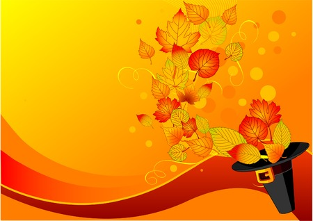 postcard background: Autumn leaves fly out of the pilgrim�s hat. Background for Thanksgiving Day