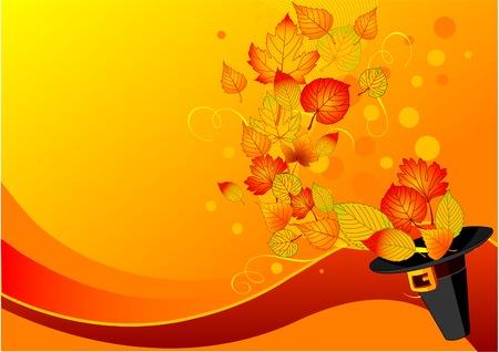 thanksgiving day symbol: Autumn leaves volare fuori del cappello pilgrim?s. Sfondo per il giorno del ringraziamento Vettoriali