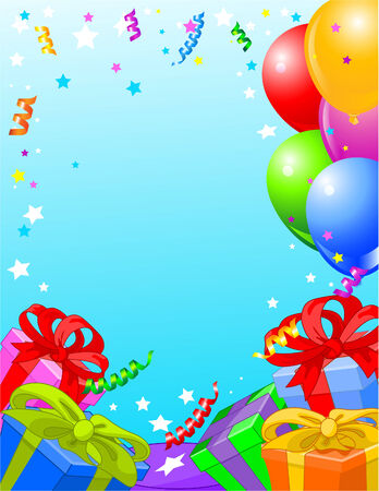 Party vertical background with gifts and balloons  Vector