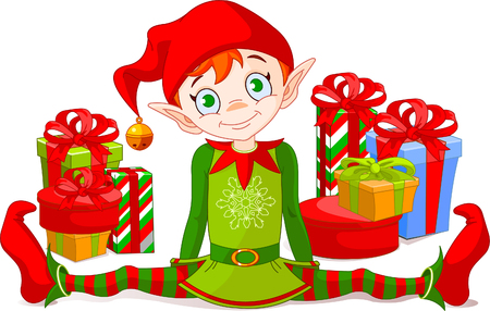 elf: Christmas Elf sitting with  a pile of gifts Illustration