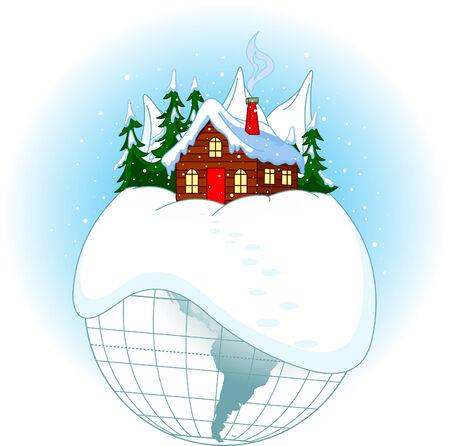 Illustratie van de planeet van Kerst mis met Santa�s home