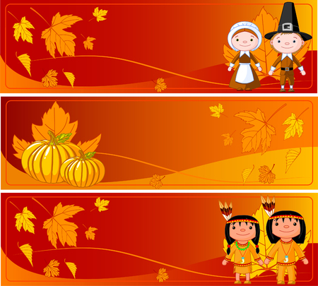 Three Cute Thanksgiving and Autumn horizontal Banners