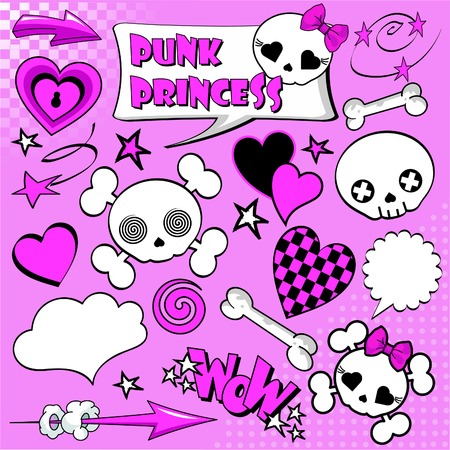 Set of comic elements �Punk princess� for your design