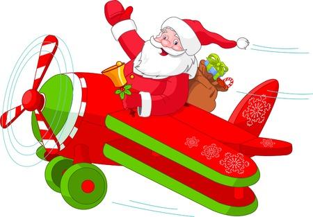 彼のクリスマスの飛行機を飛んでいるサンタさんのイラスト  イラスト・ベクター素材