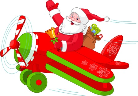 Illustration of Santa Flying His Christmas Plane