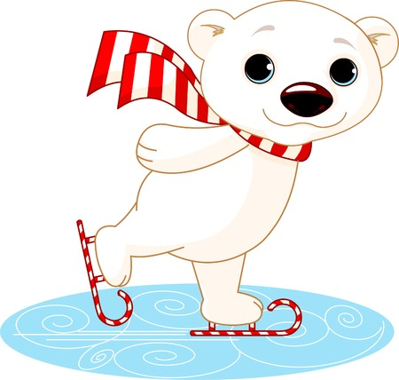 Illustration of cute polar bear on ice skates 일러스트
