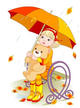 작은 소녀와 테 디 베어 우산 아래