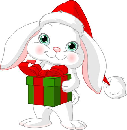 Little rabbit in a Santas hat with Christmas gift