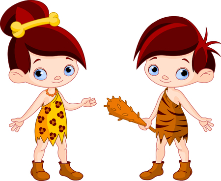 Cute Cave boy with Club and cave girl   Vector