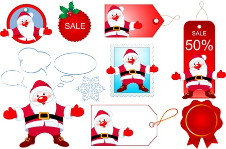 discount banner: Christmas design elements with Santa Claus opening hug