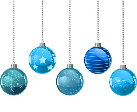 Illustration of Five different color Christmas balls Stock Vector - 8261977