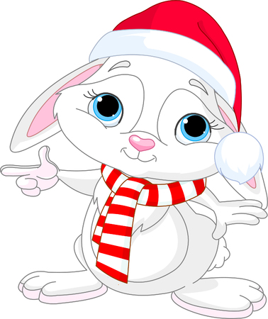 Little rabbit in a Santas hat and scarf pointing Ilustracja