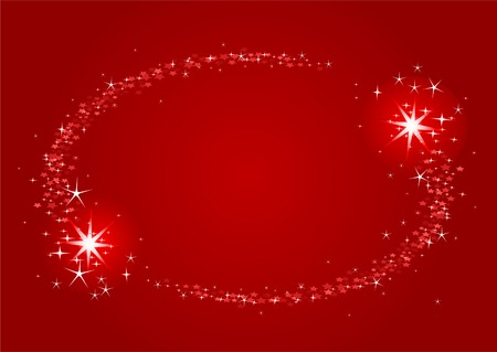 Shooting stars Christmas frame in a starry sky  Vector