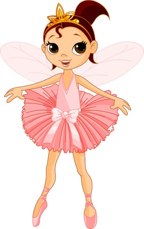 Vector Illustration of Little Cute dancing Fairy Ballerina  Stock Vector - 8261980