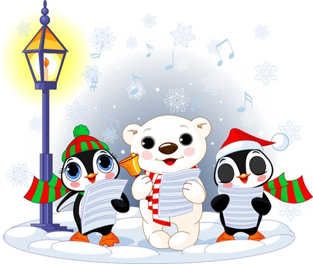 carolers: Christmas carolers. Cute polar bear and two penguins- under streetlight Illustration