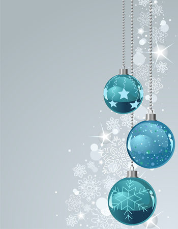 shiny background: Vector Christmas Background with balls and snowflakes