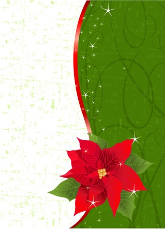 cor: Christmas place card with red ribbon and poinsettia. Place for copytext.