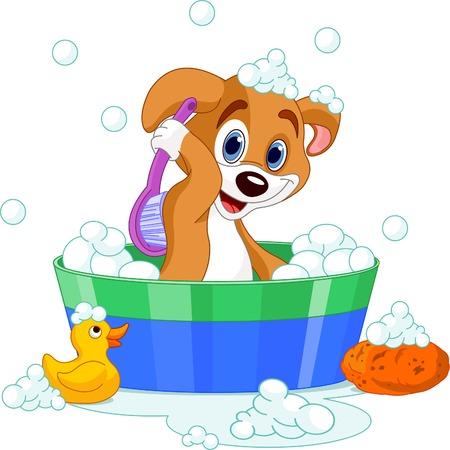 비누 목욕을하는 아주 귀여운 개 일러스트