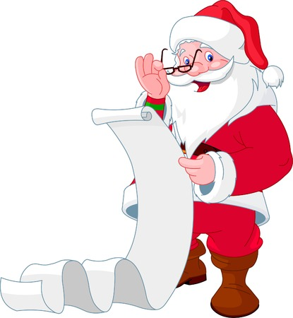 cartoon reading: Santa Claus reading a long  list of gifts Illustration