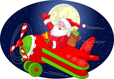 Cartoon illustratie van de Kerst man is vliegen in een vlieg tuig door de nachtelijke hemel.  Gelaagd bestand voor gemakkelijker bewerken.