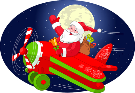 Cartoon illustration of Santa Claus is flying in an airplane through the night sky.  Layered file for easier editing.
