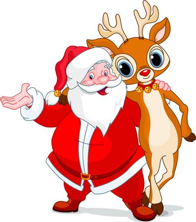 Santa and his reindeer Rudolf hugging Иллюстрация
