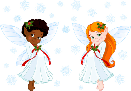 Cute Christmas fairies flying in the snowing sky
